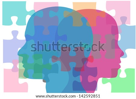 Couple man and woman face puzzling interpersonal problems need counseling - stock vector