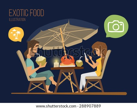 Couple man and woman sitting in a street tropical cafe at the evening. Romantic dinner illustration. - stock vector