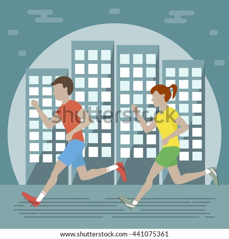 Couple man woman jogging on city background. Night runners. Vector illustration flat design. Runners icon. Running woman and man lifestyle. - stock vector