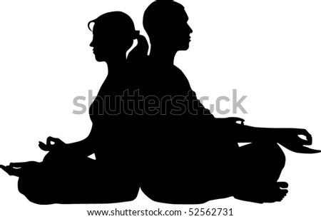 Couple meditation - stock vector