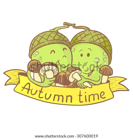 Couple of acorn doodle characters with mushrooms. Fall season banner - stock vector