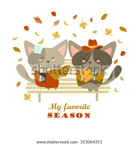 Couple of cats sitting on bench reading books and flirting. Vector isolated illustration - stock vector