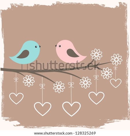 Couple of cute birds. Card for Valentine day in retro style - stock vector