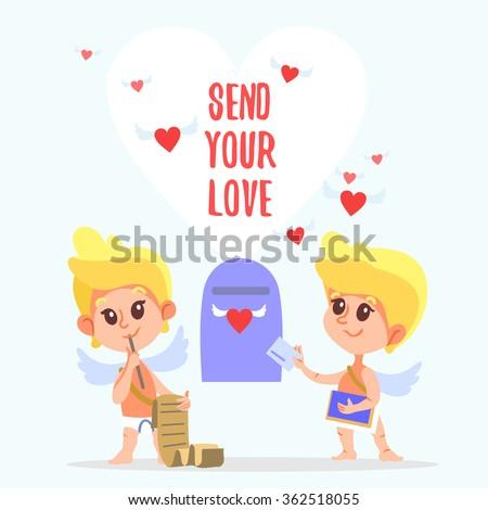 Couple of cute cartoon cupids sending romantic letters. Send your love. Valentine's day design concept.Vector illustration - stock vector