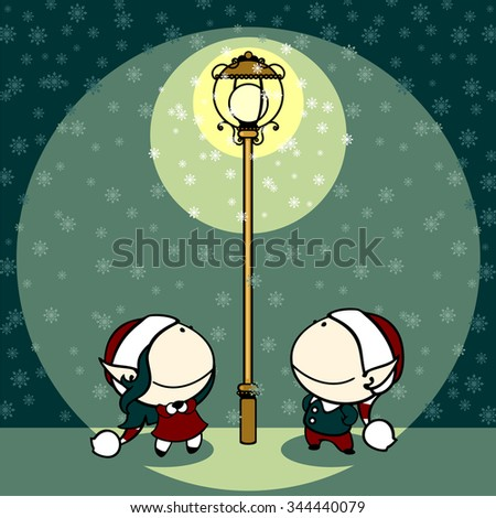 Couple of fairies looking at snowflakes falling in a light of a lamppost - stock vector