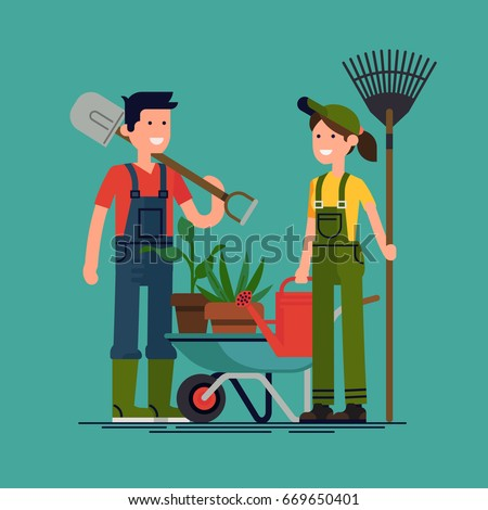 Couple of gardeners vector concept flat illustration. Young adult man and woman in overalls with rake, watering can and wheelbarrow ready to work in the garden. Gardening, planting flowers and plants