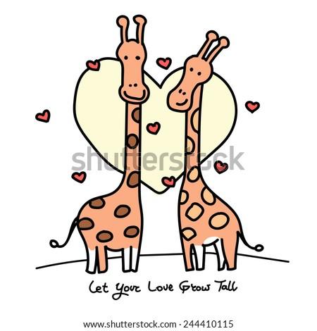 Giraffes in Love Drawing Couple of Giraffes in Love