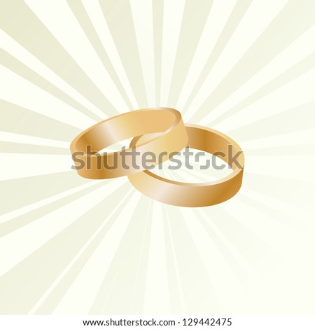 Couple of gold wedding rings vector background card - stock vector