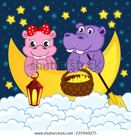 couple of hippos float on moon in clouds - vector illustration, eps