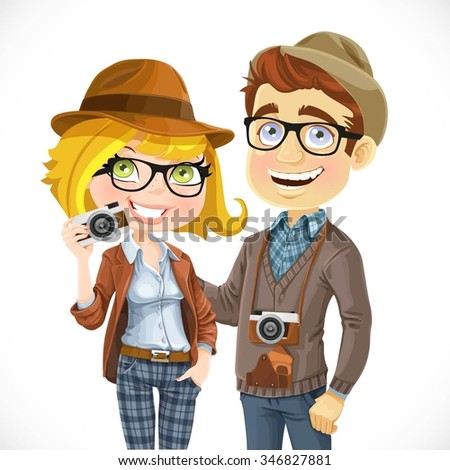 Couple of hipsters in hats with a camera isolated on white background - stock vector