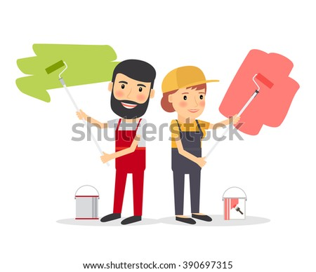 Couple of house painters. Young man and young woman smiling painter workers with paint equipment. Vector illustration - stock vector