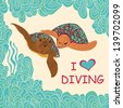 Couple of marine  turtles  swimming  in a tropical sea. Hand-drawing illustration - stock photo