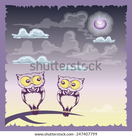 couple of owl on the branch in the night background - stock vector