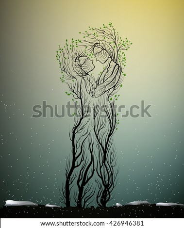 couple of people look like tree branches silhouettes, two profiles of lowers concept,tree hug each other, vector - stock vector