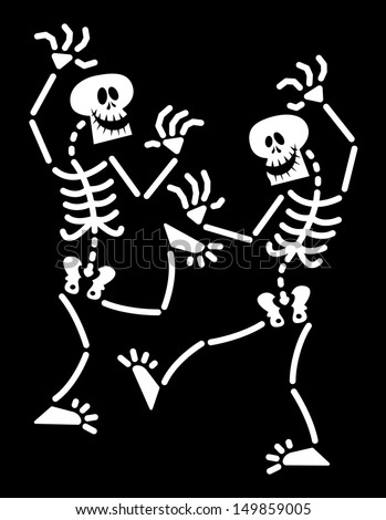 Couple of skeletons having fun, laughing and dancing in a lively and animated way despite their lack of rhythm - stock vector