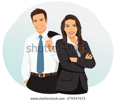 Couple of smiling business people is standing in the office. Successful team. - stock vector