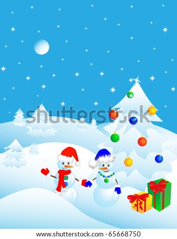 couple of snowmen in the winter woods near a Christmas tree with gifts. Vector illustration - stock vector