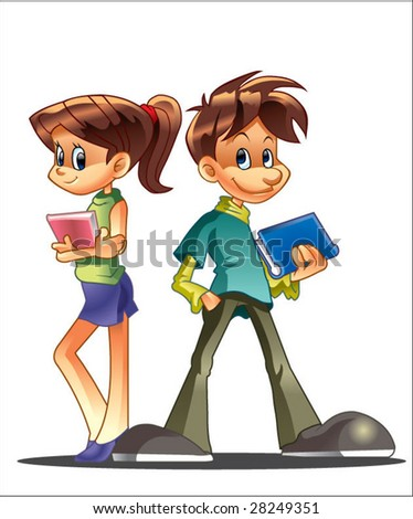 couple of student - stock vector