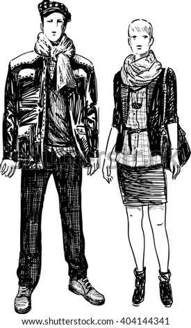 couple of the young townspeople - stock vector