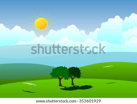 Couple of trees and birds against mountains and clouds - stock vector