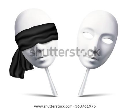 Couple of white vector blindfolded masks for mafia game - stock vector