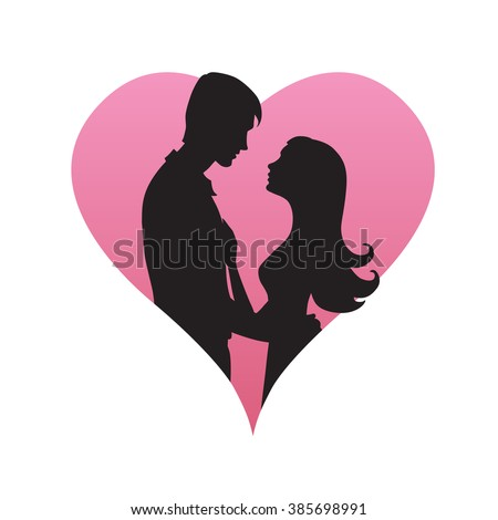 couple of young people hugging on heart background, vector illustration, Valentine's day, vector, wife, date, relations, slim, pair, boy, day, footsie, night, flirtation, male, people, isolated, - stock vector