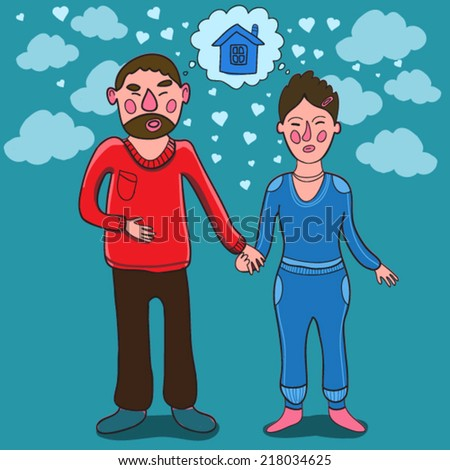couple of young people in vector - stock vector