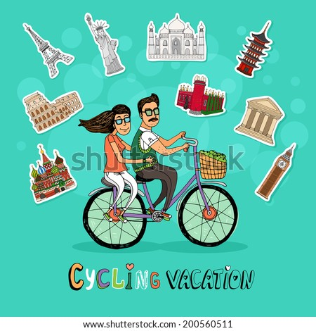 Couple on a Cycling Vacation riding a tandem bicycle together past a set of worldwide icons of famous tourist destinations with the text below  hand-drawn vector illustration - stock vector