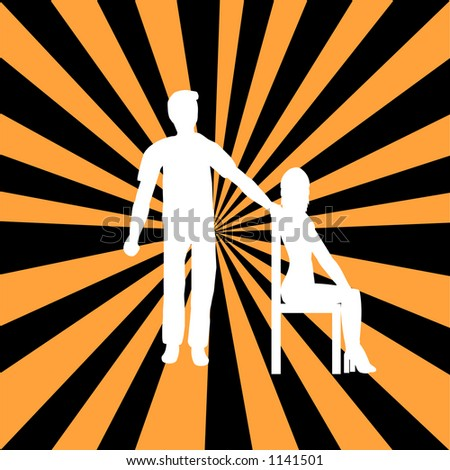 Couple on a retro background - stock vector