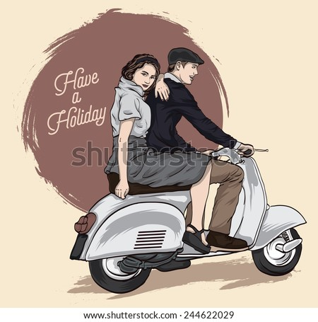 Couple on a scooter. Happy riding together. retro illustration - stock vector