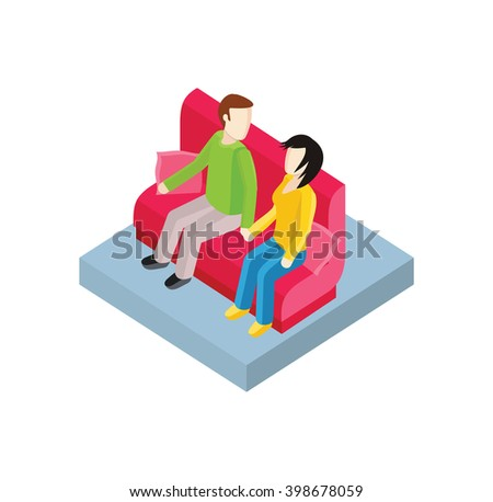 Couple on bench isometric design. Couple man and woman, love people together romantic, girlfriend and boyfriend, lover sitting, young two valentine, togetherness vector illustration - stock vector