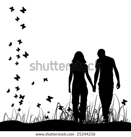 Couple on meadow, black silhouette - stock vector