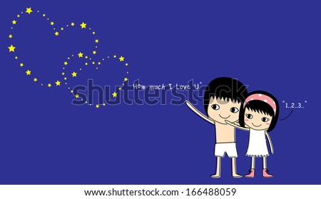Couple on the night sky with shining stars, illustration. - stock vector