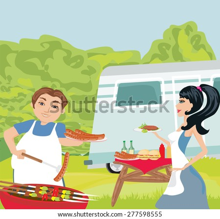 couple outdoor grilling meat  - stock vector