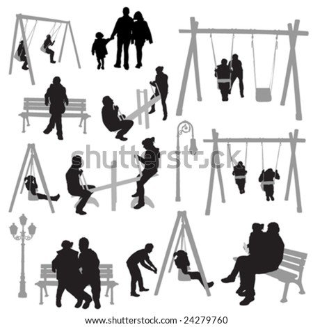 couple people in park vector - stock vector