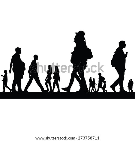 couple people vector black silhouette - stock vector