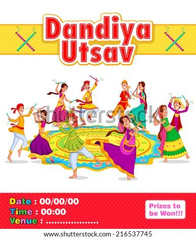 Couple performing dandiya and dancing garba in vector - stock vector