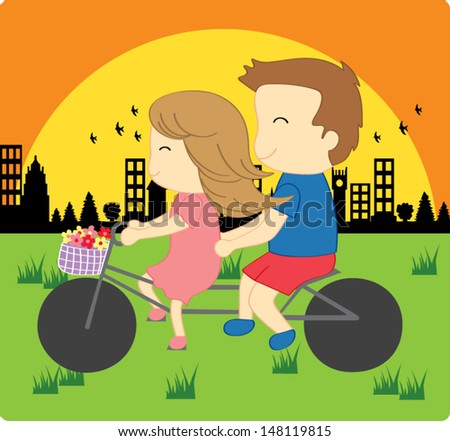 Couple Riding Bicycle - stock vector