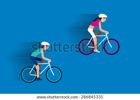 Couple riding bicycles flat design. - stock vector