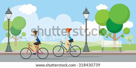 Couple Riding Bicycles In Public Park, Illustration, Flat Design,  - stock vector