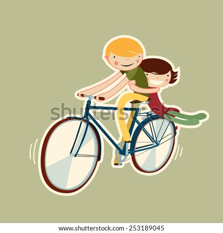 couple riding bike. vector character isolated - stock vector
