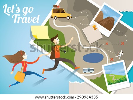 Couple run into Map, Adventure, Tourist, Sightseeing, Journey, Inspiration and Concept - stock vector