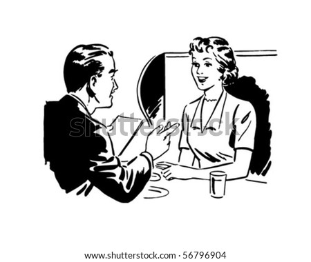 Couple Seated At A Booth - Retro Clip Art - stock vector