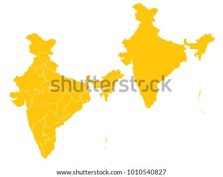 couple set map yellow map india vector eps 10 stock vector