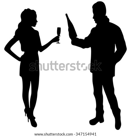 Couple sharing a bottle of wine - stock vector