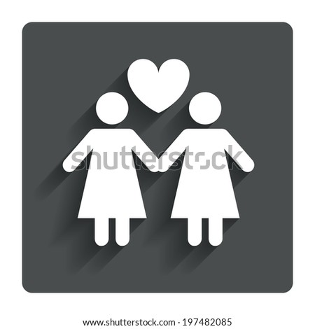Couple sign icon. Woman love woman. Lesbians with heart. Gray flat button with shadow. Modern UI website navigation. Vector