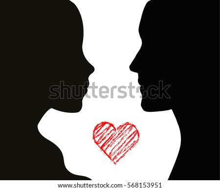 Couple silhouette and a grunge heart