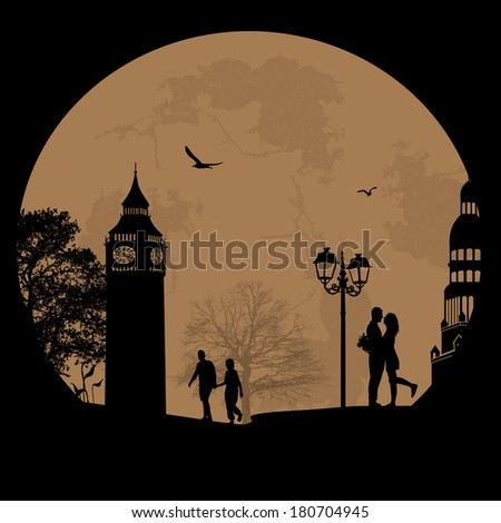 Couple silhouette in love in front of London tower , vector illustration - stock vector