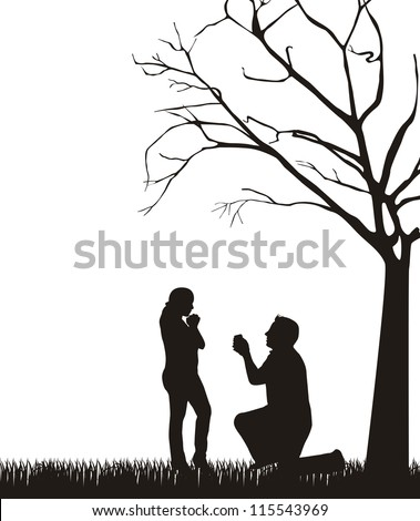 couple silhouette under tree over white background. vector - stock vector