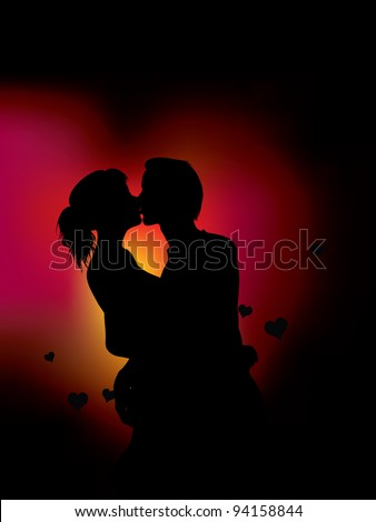 couple silhouette with heart lights (also available jpg version) - stock vector